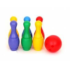 Набор из 6 кеглей с мячиком Польская пластмасса