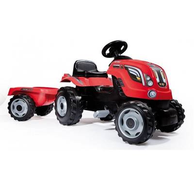 Педальный трактор с прицепом Farmer XL, красный Smoby