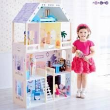 Кукольный домик Поместье Риверсайд, для кукол до 30 см (16 предметов мебели и интерьера) Paremo