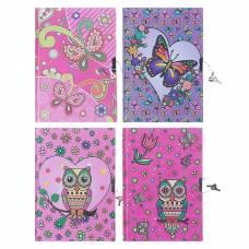 Записная книжка подарочная, формат А5, 56 листов, в линейку, на замке, «Совы/Бабочки» Calligrata