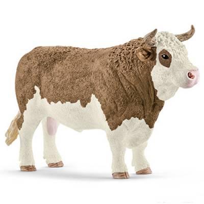 Фигурка Farm World - Симментальский бык, длина 13.5 см Schleich
