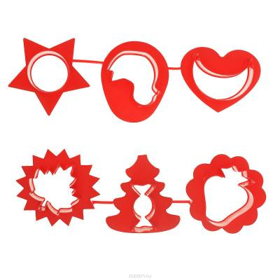 Формочки для лепки и моделирования №2, красные, 6 шт. Луч