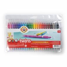 Фломастеры Koh-I-Noor TWINS 1023, 24 цвета, двухсторонние Koh-i-Noor