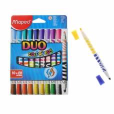 Фломастеры двухсторонние 20 цветов DUO, европодвес, с треугольным заблокированным пишущим узлом Maped