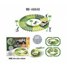Гибкий трек Армия 48 элементов, 1 машинка, 4 фигурки солдат, 19х16,2х6,5 Junfa Toys