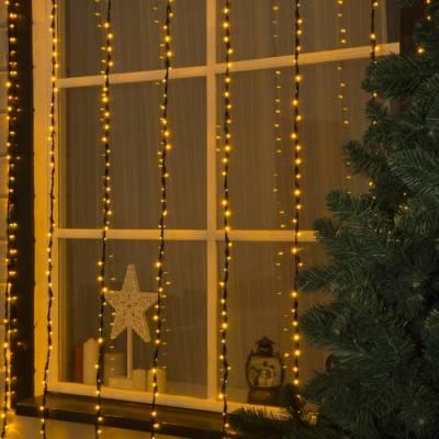 ВОДОПАД уличная, УМС, Ш:2 м, В:3 м, Н.Т. LED-800-220V, контроллер 8 режимов, ЖЕЛТЫЙ HTI