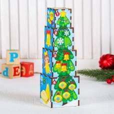 Головоломка кубики-пирамидка (Новый год) Лесная мастерская