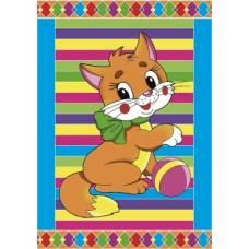 Гравюра А5 с цветным основанием с ручкой. Котенок Рыжий кот