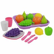 Набор продуктов №2 с посудкой и подносом (21 элемент) (в сеточке) Palau Toys