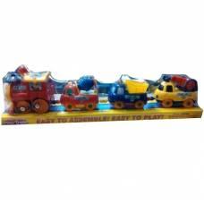 Инерционный паровозик с машинками, красно-желтый (звук) Shantou