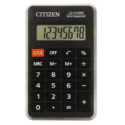 Калькулятор карманный 8-разрядный, 69х115х23 мм, питание от батарейки, чёрный LC310NR Citizen