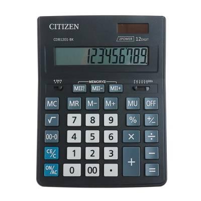 Калькулятор настольный 12-разрядный CDB1201BK, 155х205х28 мм, двойное питание, чёрный Citizen