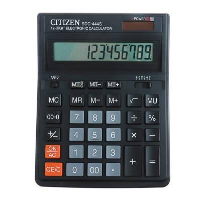 Калькулятор настольный 12-разрядный SDC-444S, 153*199*31мм, двойное питание, черный Citizen