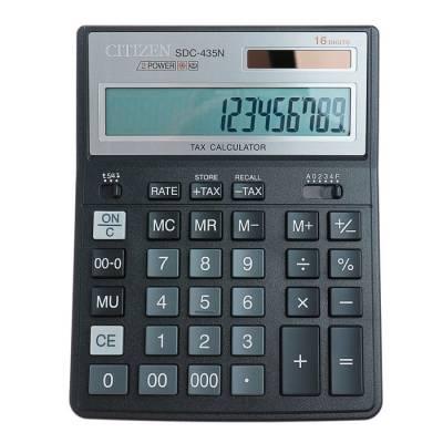 Калькулятор настольный 16-разрядный SDC-435N, двойное питание, черный Citizen