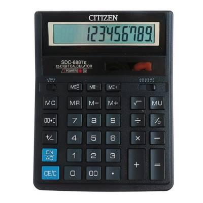 Калькулятор настольный 12-разрядный SDC-888TII, 205*159*27мм, двойное питание, черный Citizen