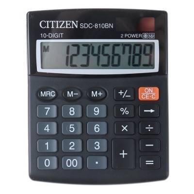 Калькулятор настольный 10-разрядный SDC-810BN, 102*124*25 мм, двойное питание, черный Citizen