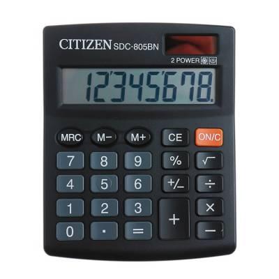 Калькулятор настольный 8-разрядный SDC-805BN, двойное питание, черный Citizen