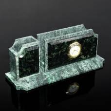 Визитница «Змеевик»: подставка для ручек, часы Sima-Land