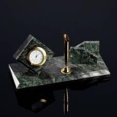 Визитница «Змеевик»: подставка для ручки, часы Sima-Land