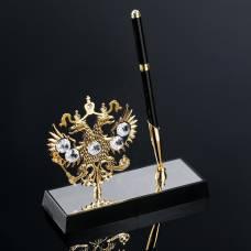 Ручка на подставке «Герб России», 16×6×20 см, с кристаллами Сваровски VS