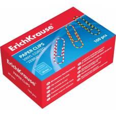 Скрепки металлические с виниловым покрытием ErichKrause® Zebra цветные, 28мм Erich Krause