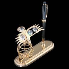Ручка на подставке «Орёл», 9×15×13,5 см, с кристаллами Сваровски VS