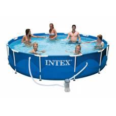 Бассейн каркасный с металлическим ободком и насосом, 366 см Intex