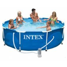 Каркасный бассейн с металлическим ободком и фильтр-насосом, 305 см Intex