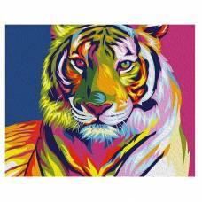 Картина по номерам Mini - Радужный тигр, на холсте, Ваю Ромдони, 16.5 х 13 см Артвентура