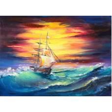 Холст с красками по номерам 22х30 см Корабль на лазурных волнах (Арт. HS333) Рыжий кот