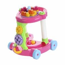 Игровая каталка с конструктором, розовая, 13 деталей Полесье