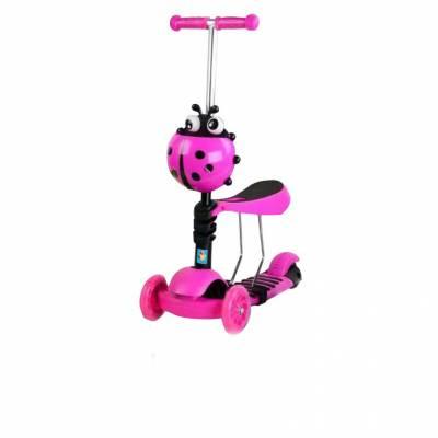 Кикборд 3 в 1 с сиденьем (светятся колеса), розово-черный 1TOY