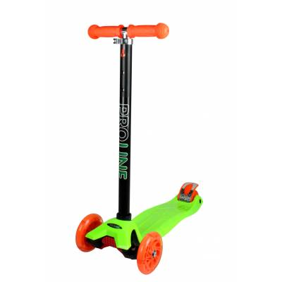 Самокат-кикборд (светятся колеса), зелено-оранжевый Pro Line