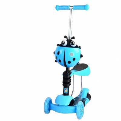 Кикборд 3 в 1 с сиденьем (светятся колеса), голубой 1TOY