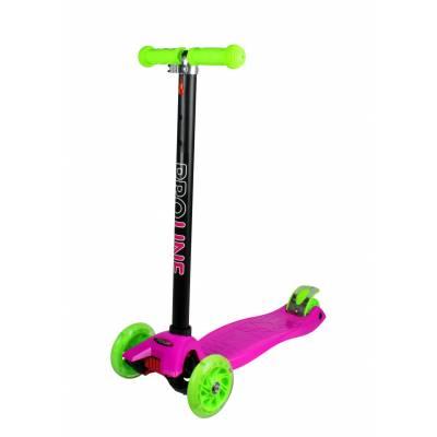 Самокат-кикборд (светятся колеса), розово-салатовый Pro Line