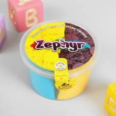 Кинетический пластилин ZEPHYR голубой/жёлтый по 60 г, формочка Лепа
