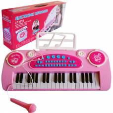 Клавишный синтезатор с микрофоном розовый, 37 клавиш Shantou