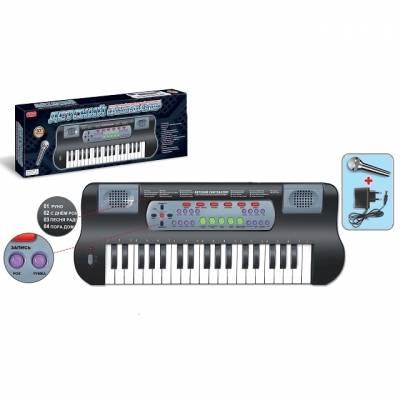 Детский синтезатор с микрофоном, 37 клавиш, черный Zhorya