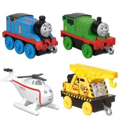 Инерционные маленькие металлические паровозики, цвета МИКС Mattel