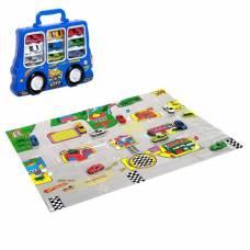 Игровой набор в чемодане: 9 металлических машинок, знаки, размер коврика 70х80 Sima-Land