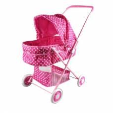 Коляска-люлька для кукол, розовая в белый горошек Yako Toys