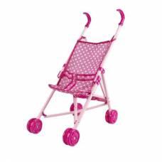 Коляска-трость для кукол, розовая в белый горошек Yako Toys