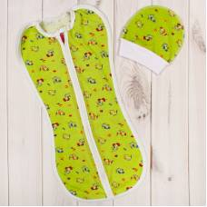 Пеленка-кокон на молнии с шапочкой, зеленая, 50-68 см Детская линия