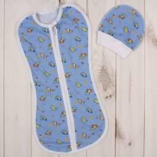 Пеленка-кокон на молнии с шапочкой, голубая, 50-68 см Детская линия