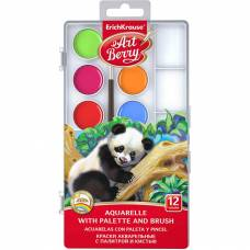 Акварельные краски Artberry с палитрой и кистью, 12 цветов  Erich Krause