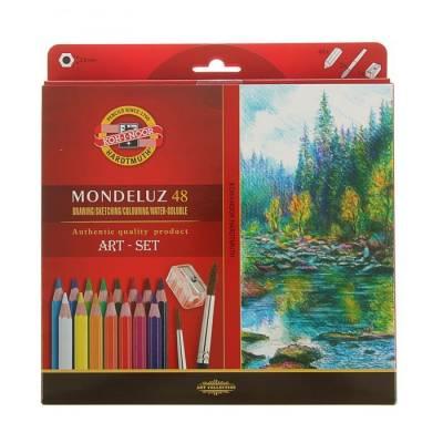 Акварельные карандаши Mondeluz с точилкой и 2 кисточками, 48 цветов Koh-i-Noor