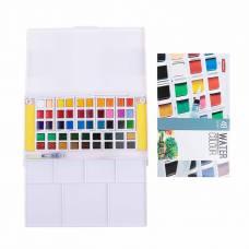Краски акварельные, 48 цветов, в кюветах, в пластиковом пенале с палитрой, с кистью Superior