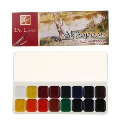 Акварель «Луч Люкс», 16 цветов, в пластиковой коробке, без кисти Луч