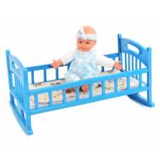 Кроватка для кукол с постелью, голубая 47 х 26 см Муси-Пуси