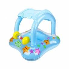 Надувной детский круг-плот с навесом Baby Float, голубой Intex